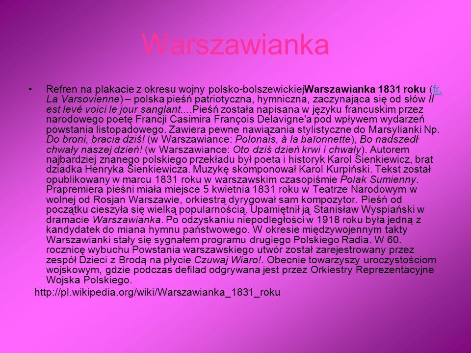Warszawianka Refren na plakacie z okresu wojny polsko-bolszewickiejWarszawianka 1831 roku (fr. La Varsovienne) – polska pieśń patriotyczna, hymniczna,
