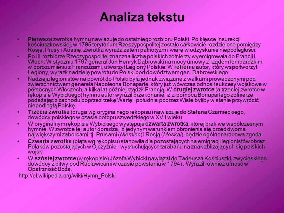 Analiza tekstu Pierwsza zwrotka hymnu nawiązuje do ostatniego rozbioru Polski. Po klęsce insurekcji kościuszkowskiej, w 1795 terytorium Rzeczypospolit