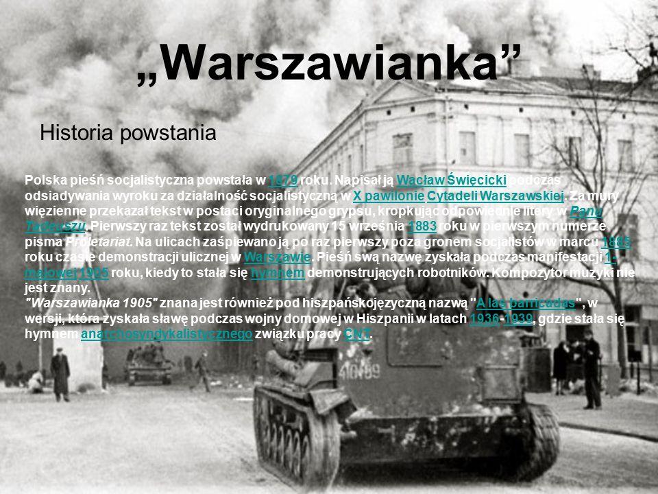 """""""Warszawianka Historia powstania Polska pieśń socjalistyczna powstała w 1879 roku."""