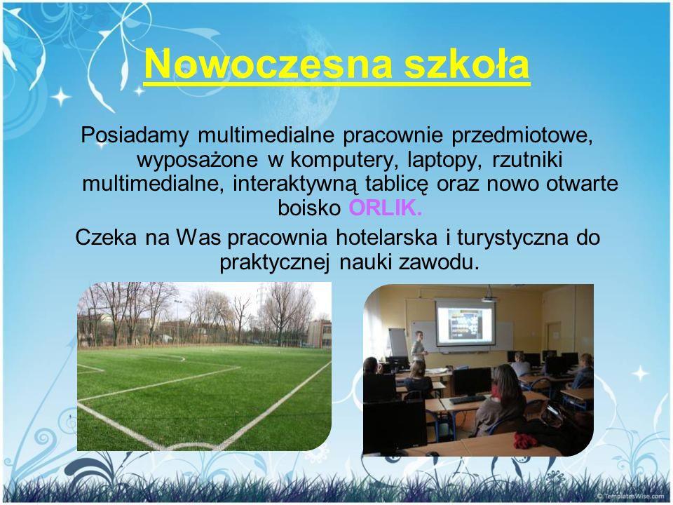 Nowoczesna szkoła Posiadamy multimedialne pracownie przedmiotowe, wyposażone w komputery, laptopy, rzutniki multimedialne, interaktywną tablicę oraz n