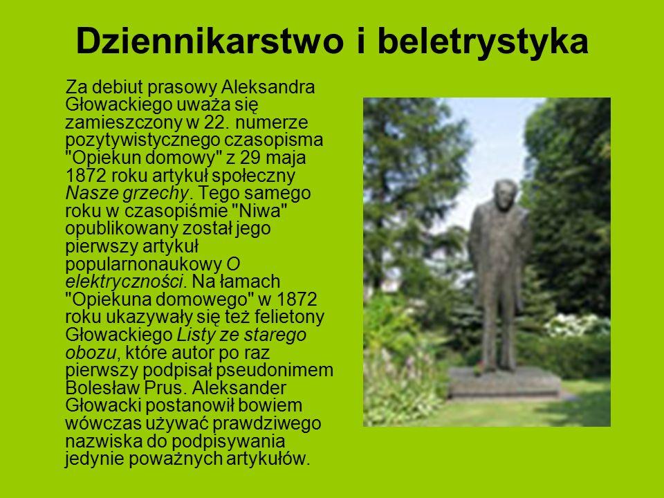 Dziennikarstwo i beletrystyka Za debiut prasowy Aleksandra Głowackiego uważa się zamieszczony w 22. numerze pozytywistycznego czasopisma