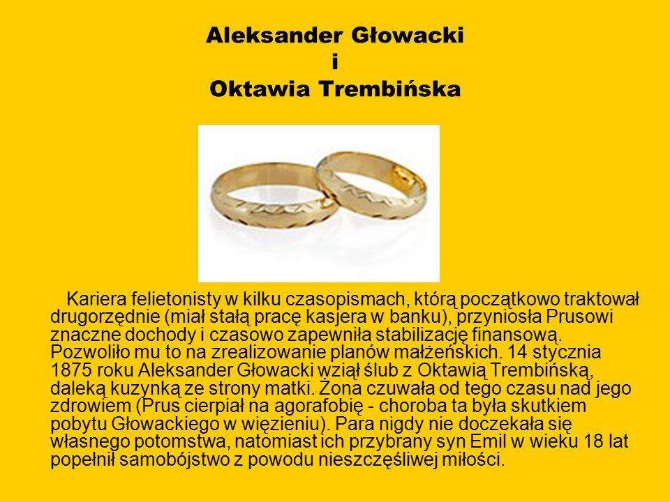 Aleksander Głowacki i Oktawia Trembińska Kariera felietonisty w kilku czasopismach, którą początkowo traktował drugorzędnie (miał stałą pracę kasjera