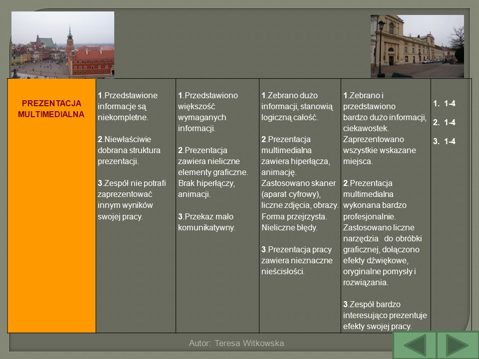 Autor: Teresa Witkowska PREZENTACJA MULTIMEDIALNA 1.Przedstawione informacje są niekompletne. 2.Niewłaściwie dobrana struktura prezentacji. 3.Zespół n