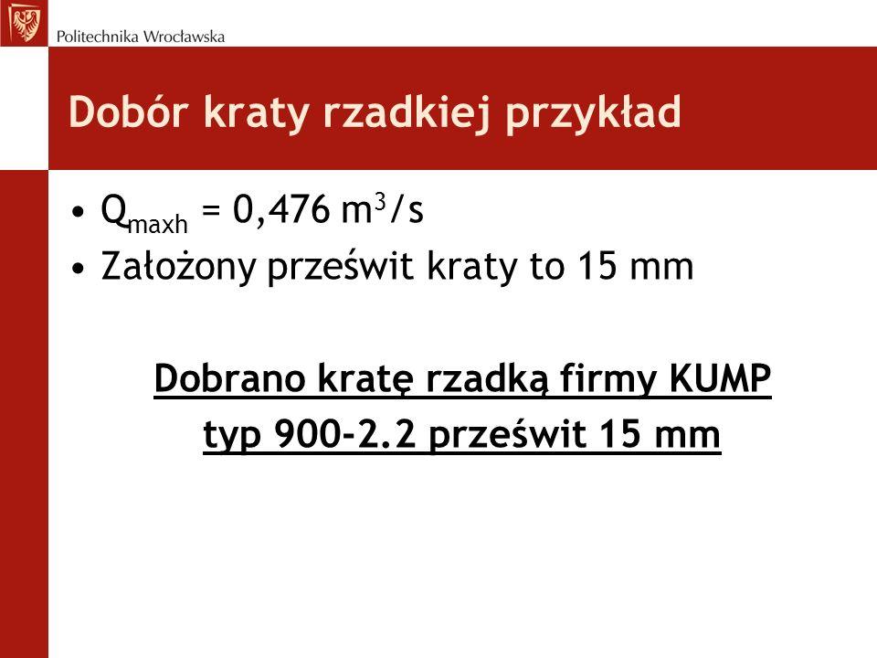 Dobór kraty rzadkiej przykład Q maxh = 0,476 m 3 /s Założony prześwit kraty to 15 mm Dobrano kratę rzadką firmy KUMP typ 900-2.2 prześwit 15 mm