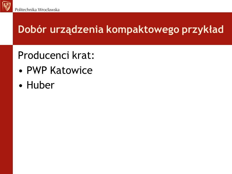 Dobór urządzenia kompaktowego przykład Producenci krat: PWP Katowice Huber