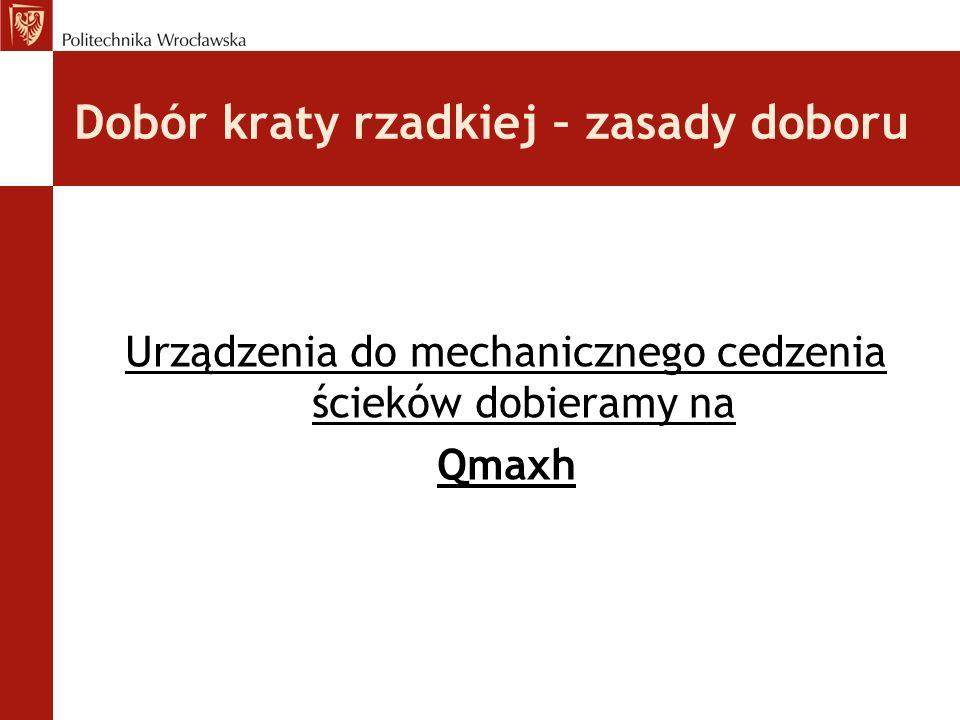 Dobór kraty rzadkiej – zasady doboru Urządzenia do mechanicznego cedzenia ścieków dobieramy na Qmaxh