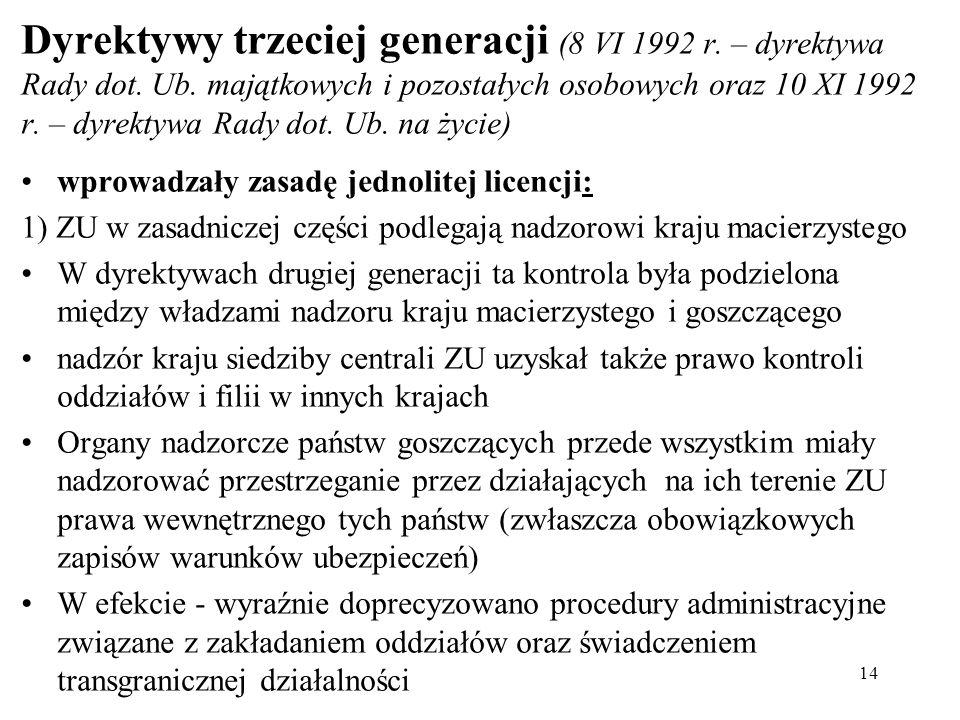 Dyrektywy trzeciej generacji (8 VI 1992 r. – dyrektywa Rady dot.
