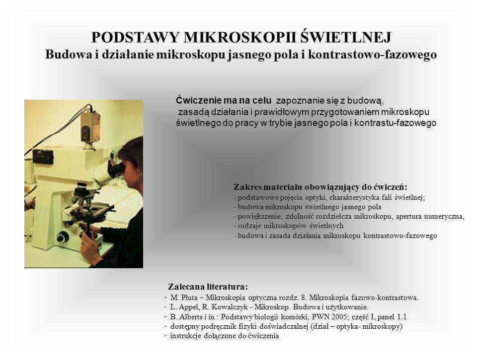 Zalecana literatura: · M. Pluta – Mikroskopia optyczna rozdz.