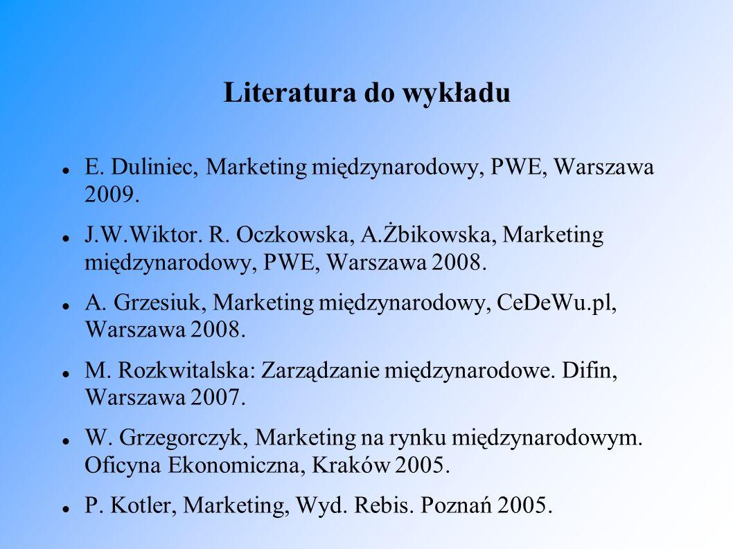 Literatura do wykładu E. Duliniec, Marketing międzynarodowy, PWE, Warszawa 2009. J.W.Wiktor. R. Oczkowska, A.Żbikowska, Marketing międzynarodowy, PWE,