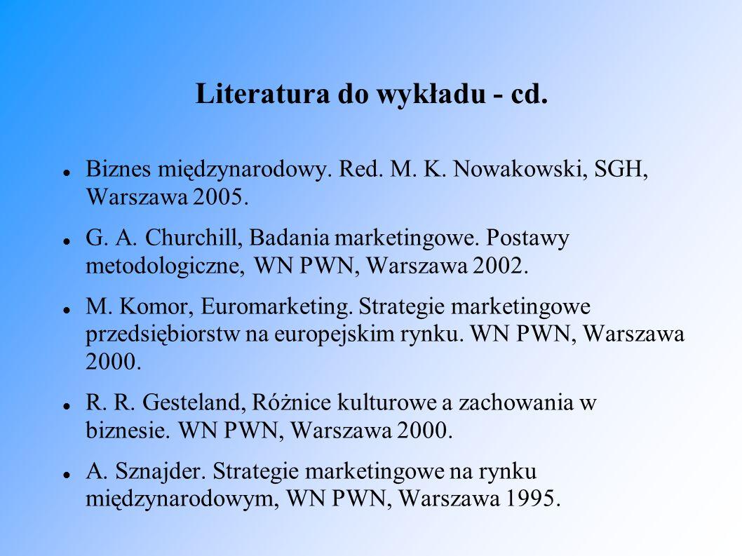 Literatura do wykładu - cd. Biznes międzynarodowy. Red. M. K. Nowakowski, SGH, Warszawa 2005. G. A. Churchill, Badania marketingowe. Postawy metodolog
