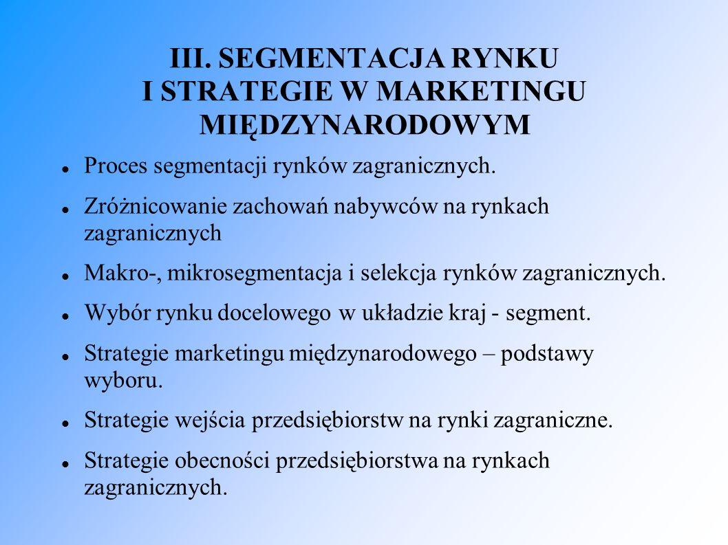 Proces segmentacji rynków zagranicznych. Zróżnicowanie zachowań nabywców na rynkach zagranicznych Makro-, mikrosegmentacja i selekcja rynków zagranicz