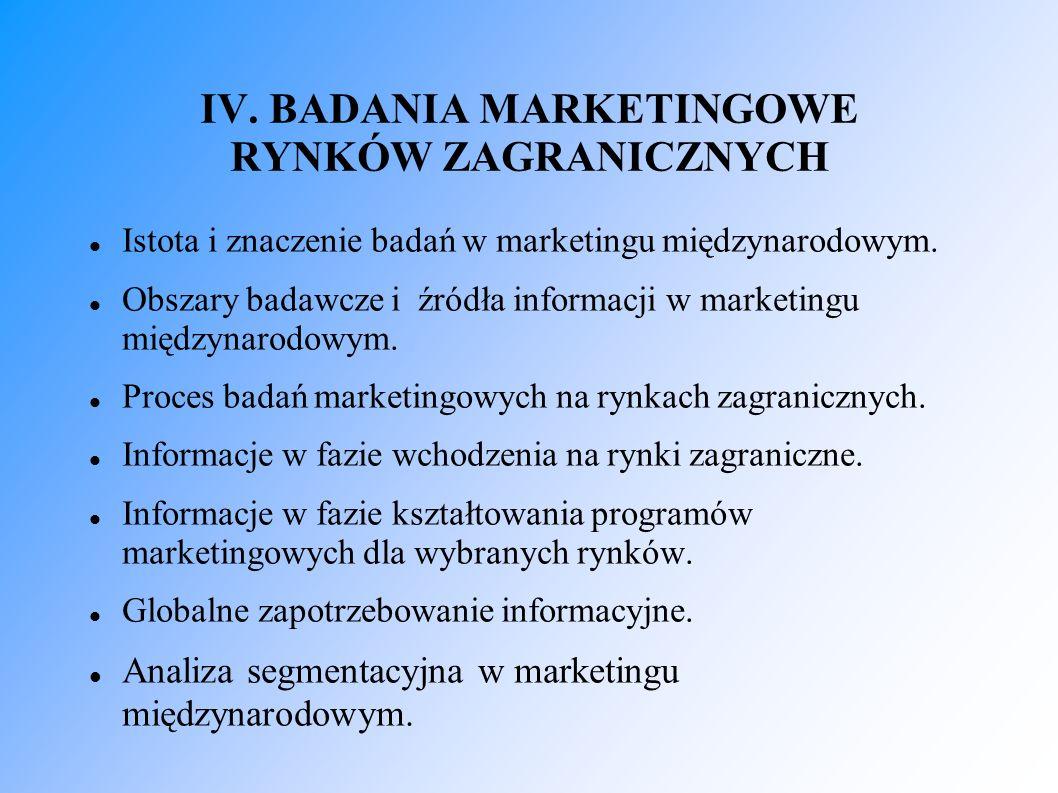 IV. BADANIA MARKETINGOWE RYNKÓW ZAGRANICZNYCH Istota i znaczenie badań w marketingu międzynarodowym. Obszary badawcze i źródła informacji w marketingu