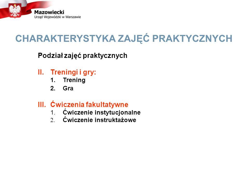 CHARAKTERYSTYKA ZAJĘĆ PRAKTYCZNYCH Podział zajęć praktycznych II.Treningi i gry: 1.Trening 2.Gra III.Ćwiczenia fakultatywne 1.