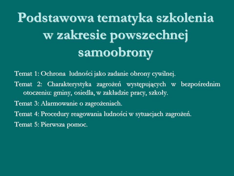 Podstawowa tematyka szkolenia w zakresie powszechnej samoobrony Temat 1: Ochrona ludności jako zadanie obrony cywilnej. Temat 2: Charakterystyka zagro