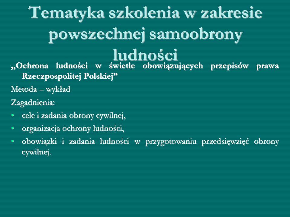 """Tematyka szkolenia w zakresie powszechnej samoobrony ludności,,Ochrona ludności w świetle obowiązujących przepisów prawa Rzeczpospolitej Polskiej"""" Met"""