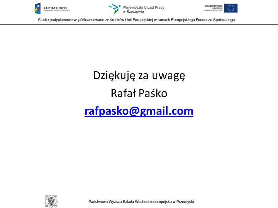 Dziękuję za uwagę Rafał Paśko rafpasko@gmail.com