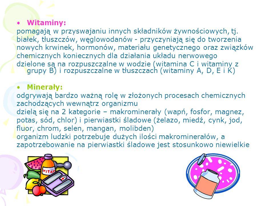 Witaminy i składniki mineralne są niezbędne do prawidłowego wzrostu i rozwoju organizmu.