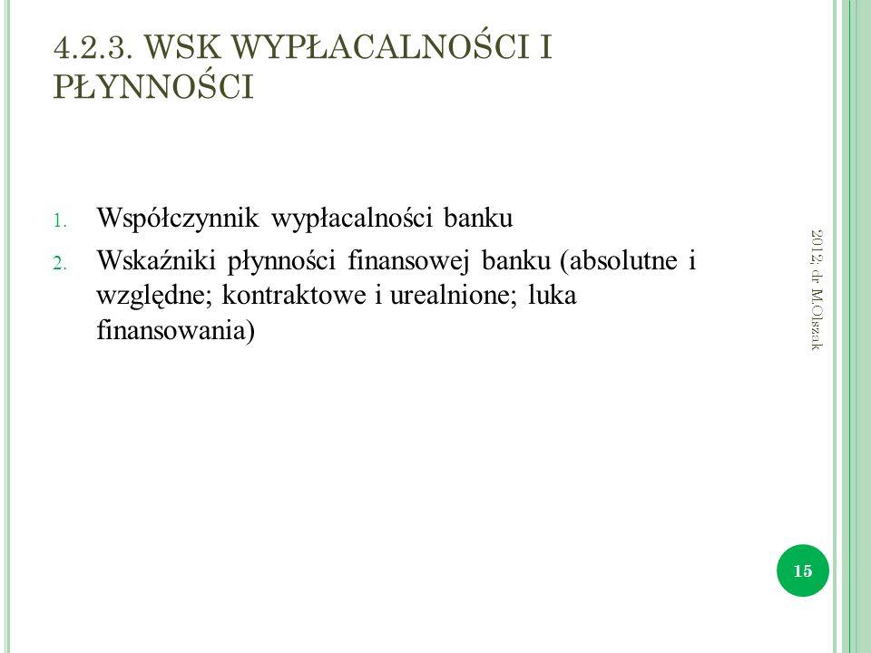 4.2.3. WSK WYPŁACALNOŚCI I PŁYNNOŚCI 1. Współczynnik wypłacalności banku 2. Wskaźniki płynności finansowej banku (absolutne i względne; kontraktowe i
