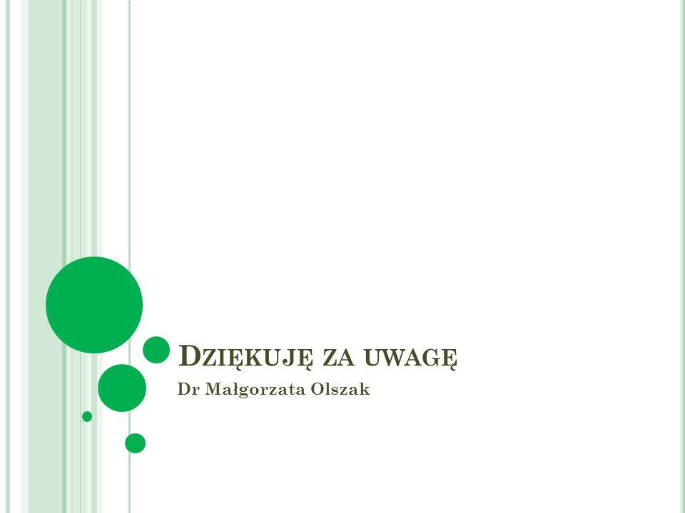 D ZIĘKUJĘ ZA UWAGĘ Dr Małgorzata Olszak