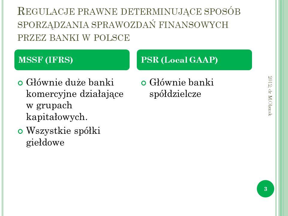 R EGULACJE PRAWNE DETERMINUJĄCE SPOSÓB SPORZĄDZANIA SPRAWOZDAŃ FINANSOWYCH PRZEZ BANKI W POLSCE 2012; dr M.Olszak 3 Głównie duże banki komercyjne dzia