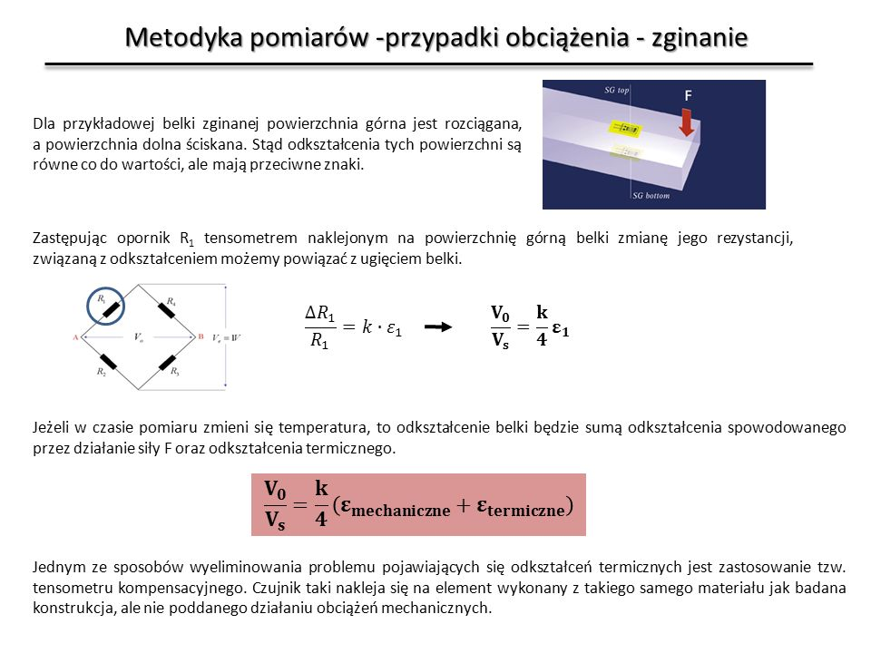 Metodyka pomiarów -przypadki obciążenia - zginanie Dla przykładowej belki zginanej powierzchnia górna jest rozciągana, a powierzchnia dolna ściskana.