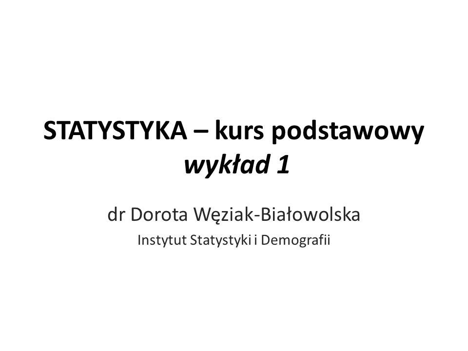 STATYSTYKA – kurs podstawowy wykład 1 dr Dorota Węziak-Białowolska Instytut Statystyki i Demografii