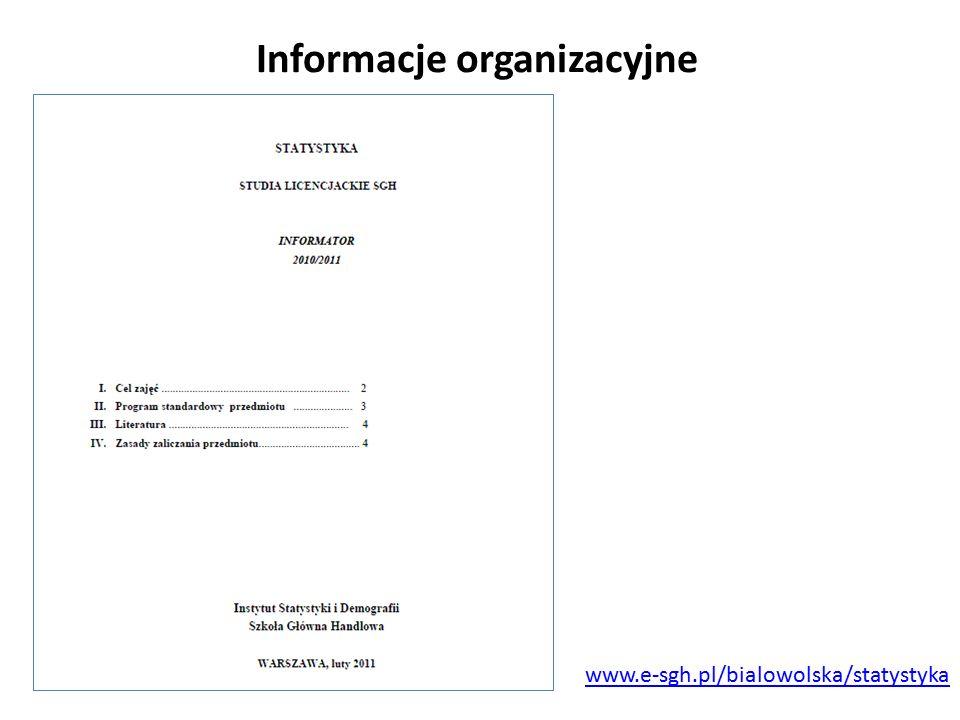 Informacje organizacyjne www.e-sgh.pl/bialowolska/statystyka