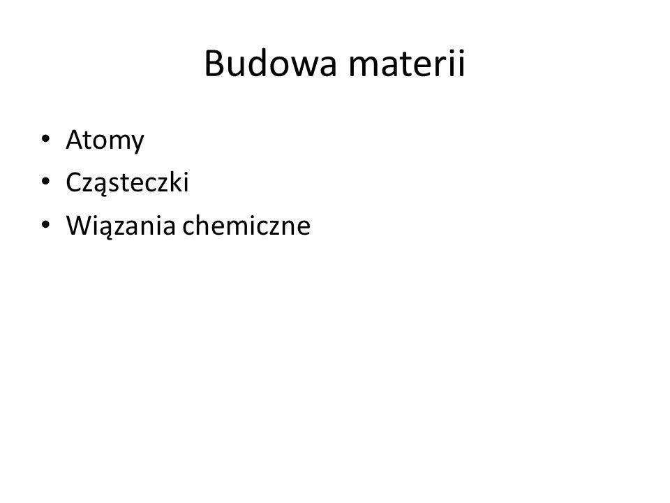 Budowa materii Atomy Cząsteczki Wiązania chemiczne
