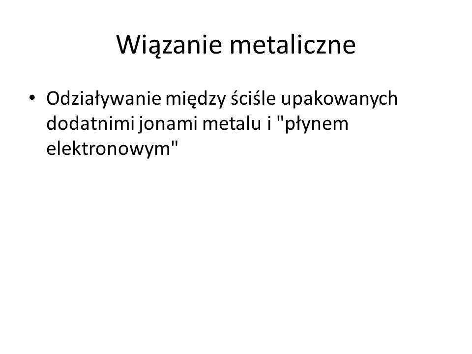 Wiązanie metaliczne Odziaływanie między ściśle upakowanych dodatnimi jonami metalu i płynem elektronowym