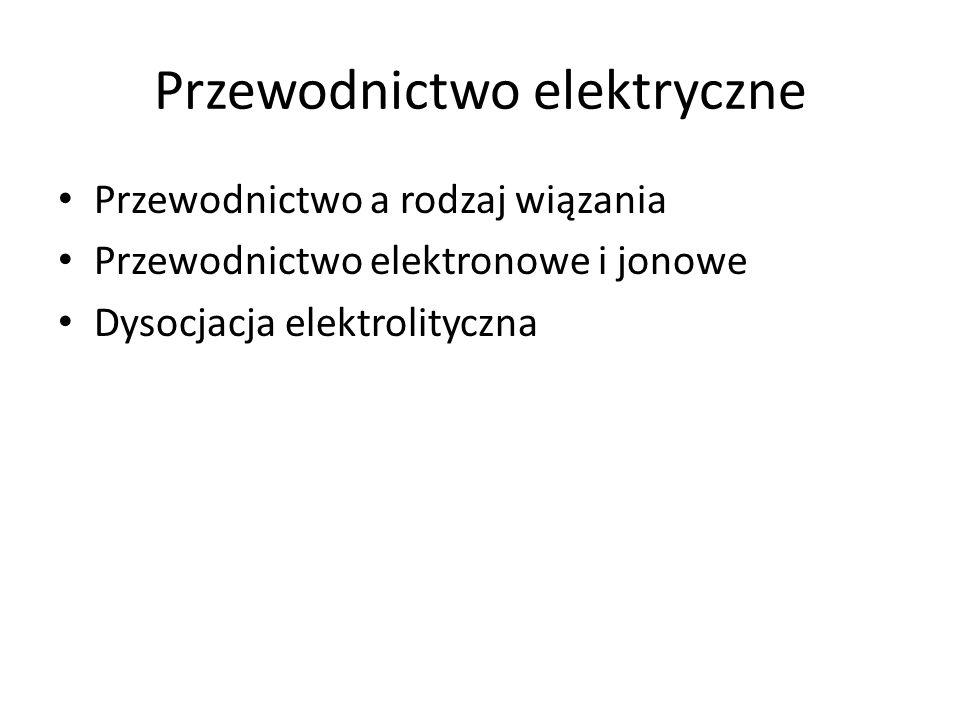 Przewodnictwo elektryczne Przewodnictwo a rodzaj wiązania Przewodnictwo elektronowe i jonowe Dysocjacja elektrolityczna