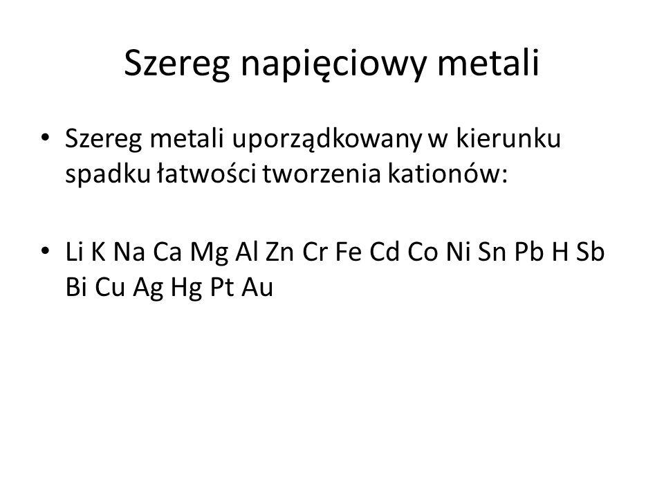 Szereg napięciowy metali Szereg metali uporządkowany w kierunku spadku łatwości tworzenia kationów: Li K Na Ca Mg Al Zn Cr Fe Cd Co Ni Sn Pb H Sb Bi Cu Ag Hg Pt Au