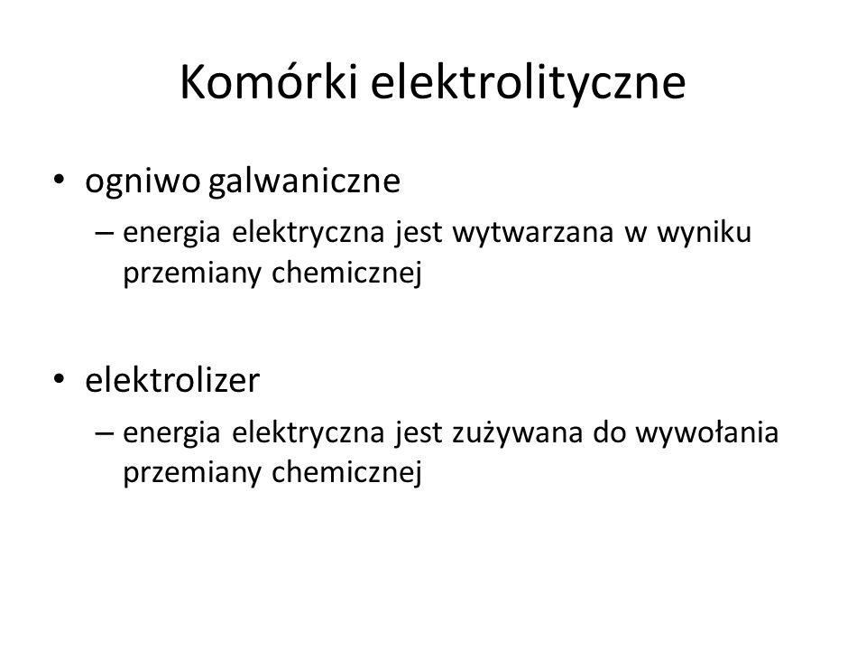 Komórki elektrolityczne ogniwo galwaniczne – energia elektryczna jest wytwarzana w wyniku przemiany chemicznej elektrolizer – energia elektryczna jest zużywana do wywołania przemiany chemicznej