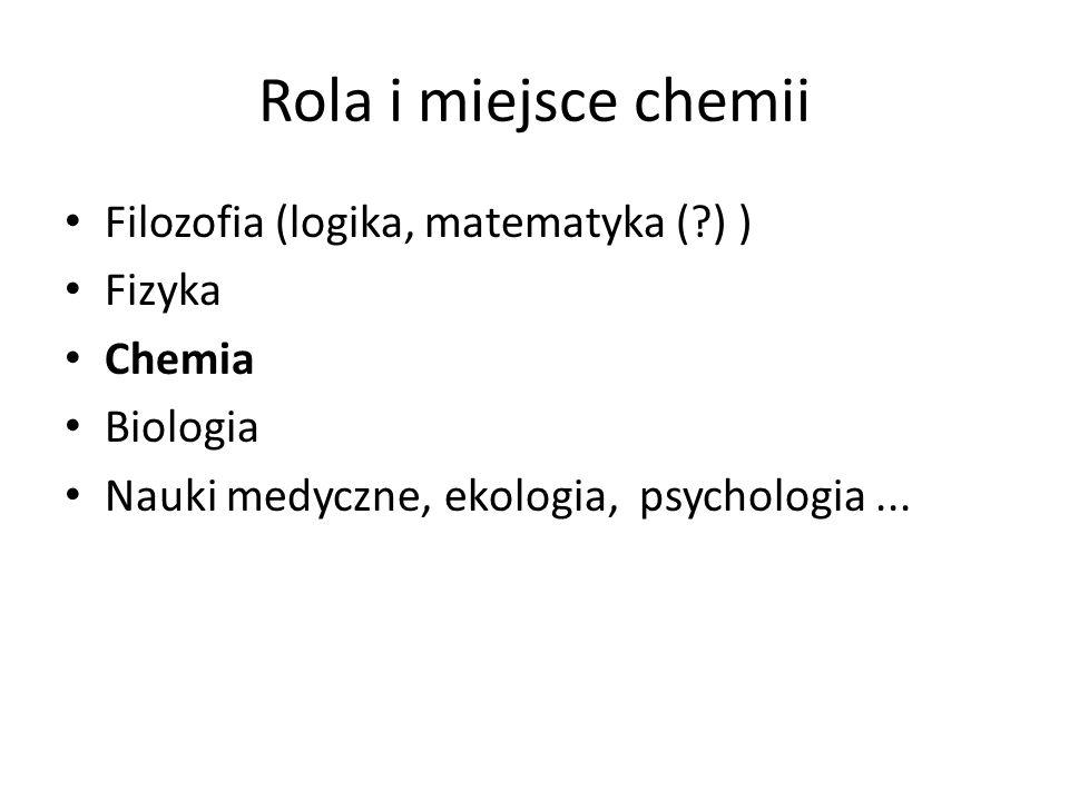 Rola i miejsce chemii Filozofia (logika, matematyka (?) ) Fizyka Chemia Biologia Nauki medyczne, ekologia, psychologia...
