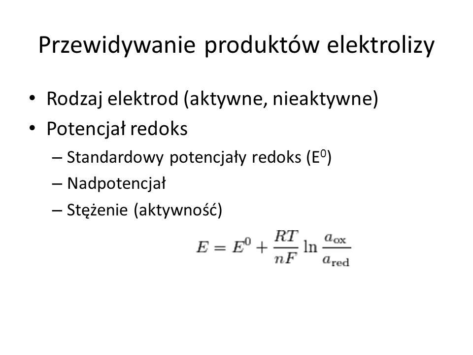 Przewidywanie produktów elektrolizy Rodzaj elektrod (aktywne, nieaktywne) Potencjał redoks – Standardowy potencjały redoks (E 0 ) – Nadpotencjał – Stężenie (aktywność)