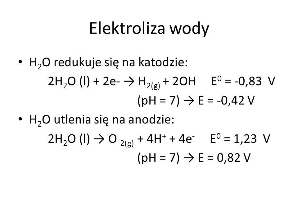 Elektroliza wody H 2 O redukuje się na katodzie: 2H 2 O (l) + 2e- → H 2(g) + 2OH - E 0 = -0,83 V (pH = 7) → E = -0,42 V H 2 O utlenia się na anodzie:
