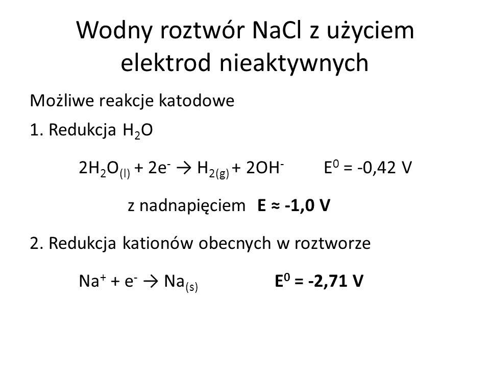Wodny roztwór NaCl z użyciem elektrod nieaktywnych Możliwe reakcje katodowe 1.