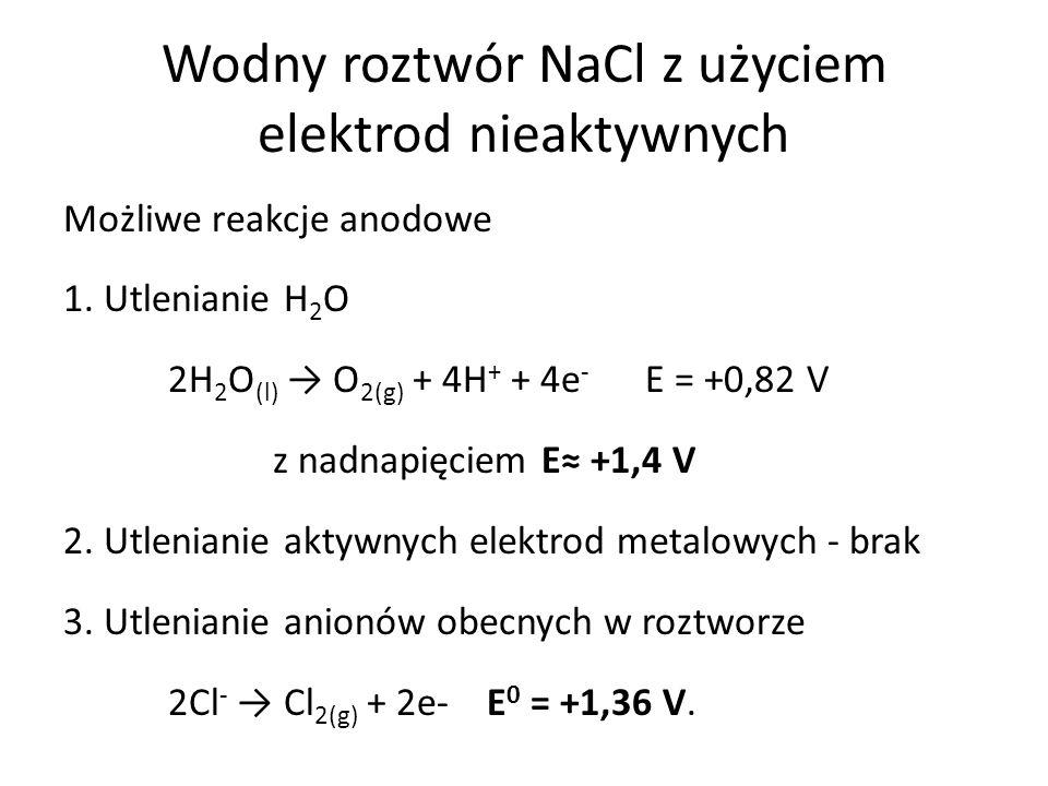Wodny roztwór NaCl z użyciem elektrod nieaktywnych Możliwe reakcje anodowe 1.
