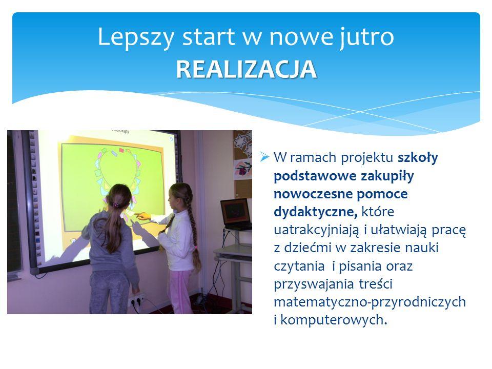 REALIZACJA Lepszy start w nowe jutro REALIZACJA  W ramach projektu szkoły podstawowe zakupiły nowoczesne pomoce dydaktyczne, które uatrakcyjniają i u