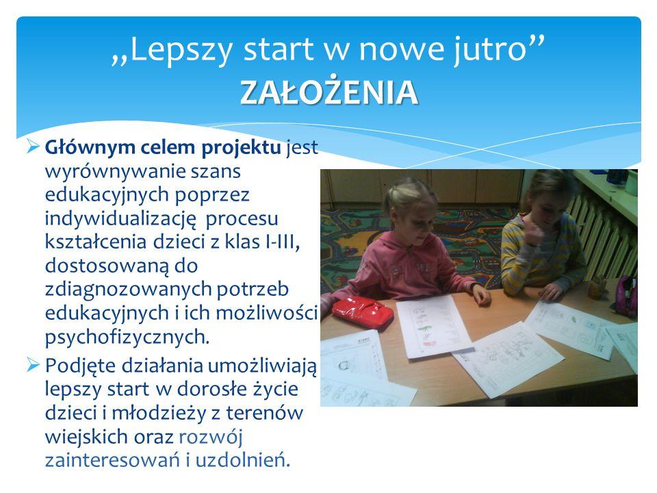 """ZAŁOŻENIA """"Lepszy start w nowe jutro"""" ZAŁOŻENIA  Głównym celem projektu jest wyrównywanie szans edukacyjnych poprzez indywidualizację procesu kształc"""