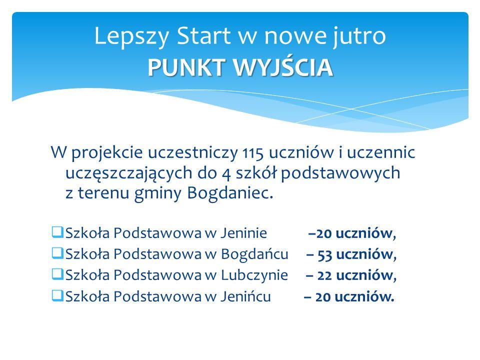 W projekcie uczestniczy 115 uczniów i uczennic uczęszczających do 4 szkół podstawowych z terenu gminy Bogdaniec.  Szkoła Podstawowa w Jeninie –20 ucz