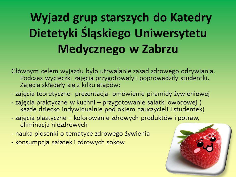 Wyjazd grup starszych do Katedry Dietetyki Śląskiego Uniwersytetu Medycznego w Zabrzu Głównym celem wyjazdu było utrwalanie zasad zdrowego odżywiania.
