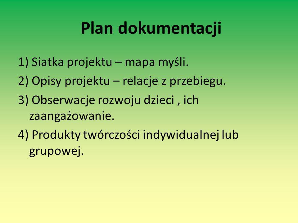 Plan dokumentacji 1) Siatka projektu – mapa myśli. 2) Opisy projektu – relacje z przebiegu. 3) Obserwacje rozwoju dzieci, ich zaangażowanie. 4) Produk