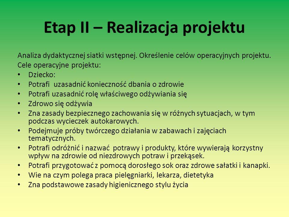 Etap II – Realizacja projektu Analiza dydaktycznej siatki wstępnej. Określenie celów operacyjnych projektu. Cele operacyjne projektu: Dziecko: Potrafi