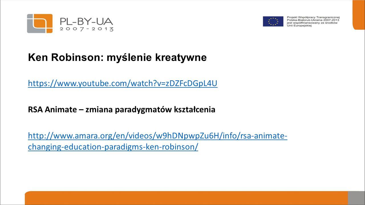 Ken Robinson: myślenie kreatywne https://www.youtube.com/watch?v=zDZFcDGpL4U RSA Animate – zmiana paradygmatów kształcenia http://www.amara.org/en/videos/w9hDNpwpZu6H/info/rsa-animate- changing-education-paradigms-ken-robinson/