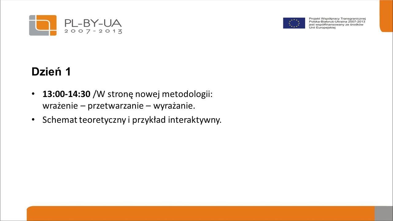 Dzień 1 13:00-14:30 /W stronę nowej metodologii: wrażenie – przetwarzanie – wyrażanie.