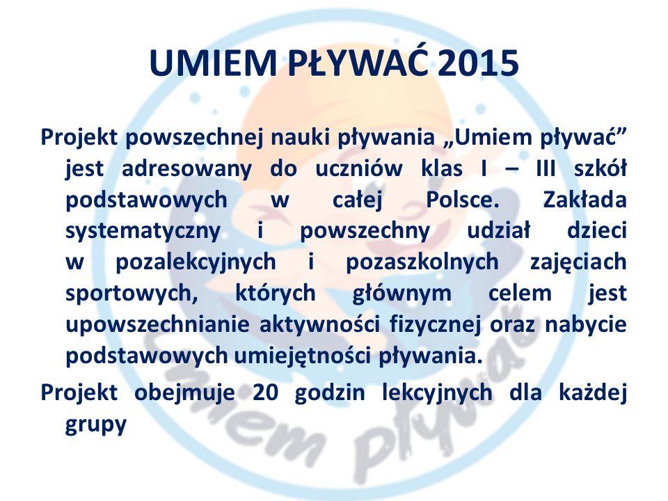 """UMIEM PŁYWAĆ 2015 Projekt powszechnej nauki pływania """"Umiem pływać jest adresowany do uczniów klas I – III szkół podstawowych w całej Polsce."""