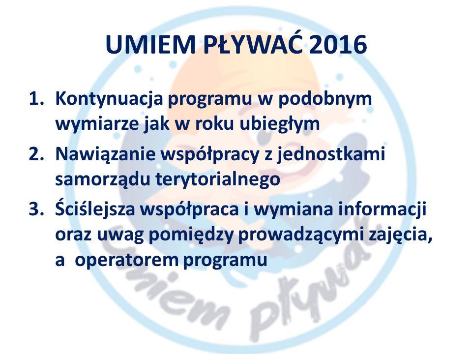 UMIEM PŁYWAĆ 2016 1.Kontynuacja programu w podobnym wymiarze jak w roku ubiegłym 2.Nawiązanie współpracy z jednostkami samorządu terytorialnego 3.Ściślejsza współpraca i wymiana informacji oraz uwag pomiędzy prowadzącymi zajęcia, a operatorem programu