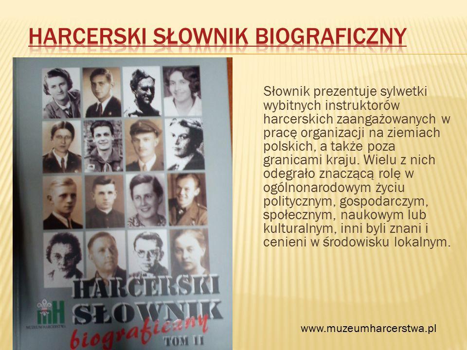 Słownik prezentuje sylwetki wybitnych instruktorów harcerskich zaangażowanych w pracę organizacji na ziemiach polskich, a także poza granicami kraju.