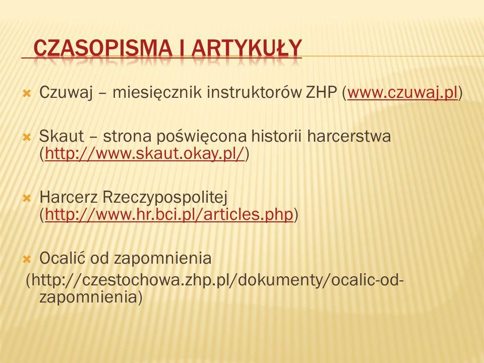  Czuwaj – miesięcznik instruktorów ZHP (www.czuwaj.pl)www.czuwaj.pl  Skaut – strona poświęcona historii harcerstwa (http://www.skaut.okay.pl/)http://www.skaut.okay.pl/  Harcerz Rzeczypospolitej (http://www.hr.bci.pl/articles.php)http://www.hr.bci.pl/articles.php  Ocalić od zapomnienia (http://czestochowa.zhp.pl/dokumenty/ocalic-od- zapomnienia)