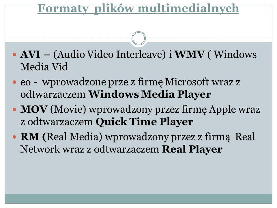 Formaty plików multimedialnych AVI – (Audio Video Interleave) i WMV ( Windows Media Vid eo - wprowadzone prze z firmę Microsoft wraz z odtwarzaczem Wi